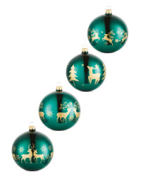Emerald Stag Glass Baubles 4 Pack
