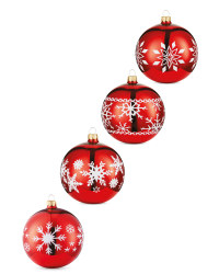 Red Snowflake Glass Baubles 4 Pack