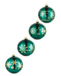 Green Snowflake Glass Baubles 4 Pack
