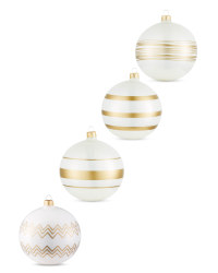 White Lined Glass Baubles 4 Pack
