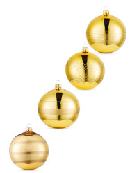 Gold Lined Glass Baubles 4 Pack