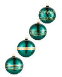 Emerald Lined Glass Baubles 4 Pack