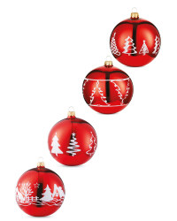 Red Tree Glass Baubles 4 Pack