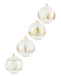 White Tree Glass Baubles 4 Pack