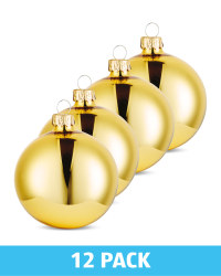 Gold Glass Baubles 12 Pack