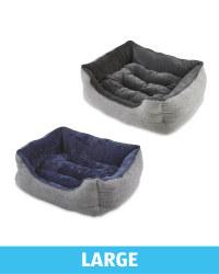 Large Herringbone Plush Pet Bed