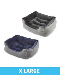 XL Herringbone Plush Dog Bed