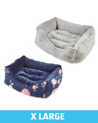 XL Floral Plush Dog Bed