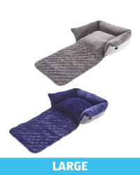 Large Herringbone Roll Down Pet Bed