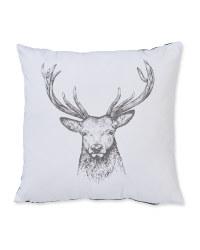 Square Festive Stag Cushion