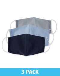 Adults Blue Face Coverings 3 Pack