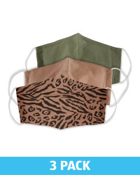 Adults Leopard Face Coverings 3 Pack