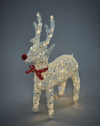 White Faux Rattan LED Reindeer