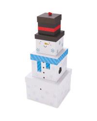 Snowman Stackable Gift Box Set