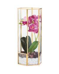 Faux Pink Orchid In Glass Terrarium
