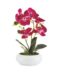 Faux Pink Orchid In Ceramic