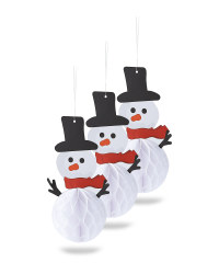 Honeycomb Snowman Decoration 3 Pack