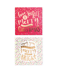 Merry Square Christmas Cards 20 Pack