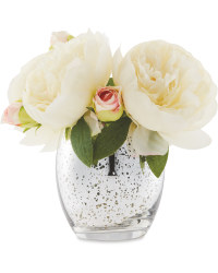 Peony In Silver Crackle Vase