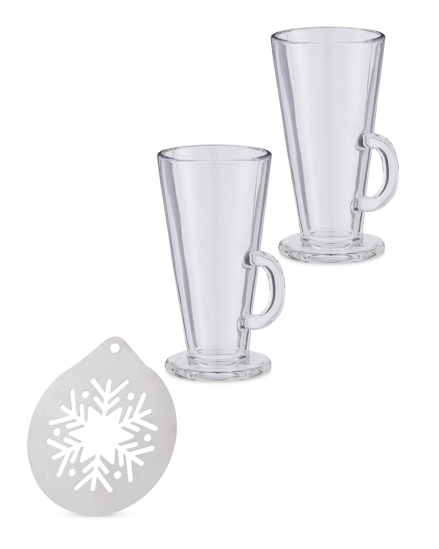 Latte Glasses & Stencil Set