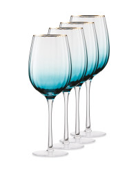 Crystalline Teal Wine Glass 4 Pack