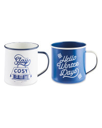 Blue & White Tin Gift Mugs 2 Pack