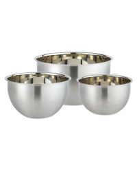 Nested Silver Mixing Bowl 3 Pack