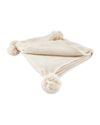 Cream Knitted Pompom Throw