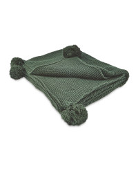 Emerald Knitted Pompom Throw