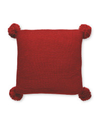 Deep Red Knitted Pompom Cushion