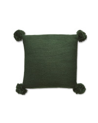 Emerald Knitted Pompom Cushion