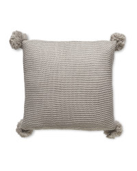 Grey Knitted Pompom Cushion