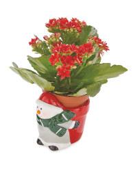 Snowman Novelty Ceramic Planter
