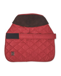 Dark Red Quilted Dog Coat