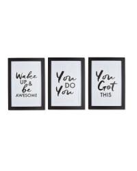 Motivational Framed Prints 3 Pack