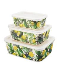 Lemon Nestable Lunch Boxes 3 Pack
