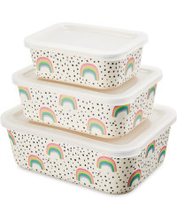 Rainbow Nestable Lunch Boxes 3 Pack