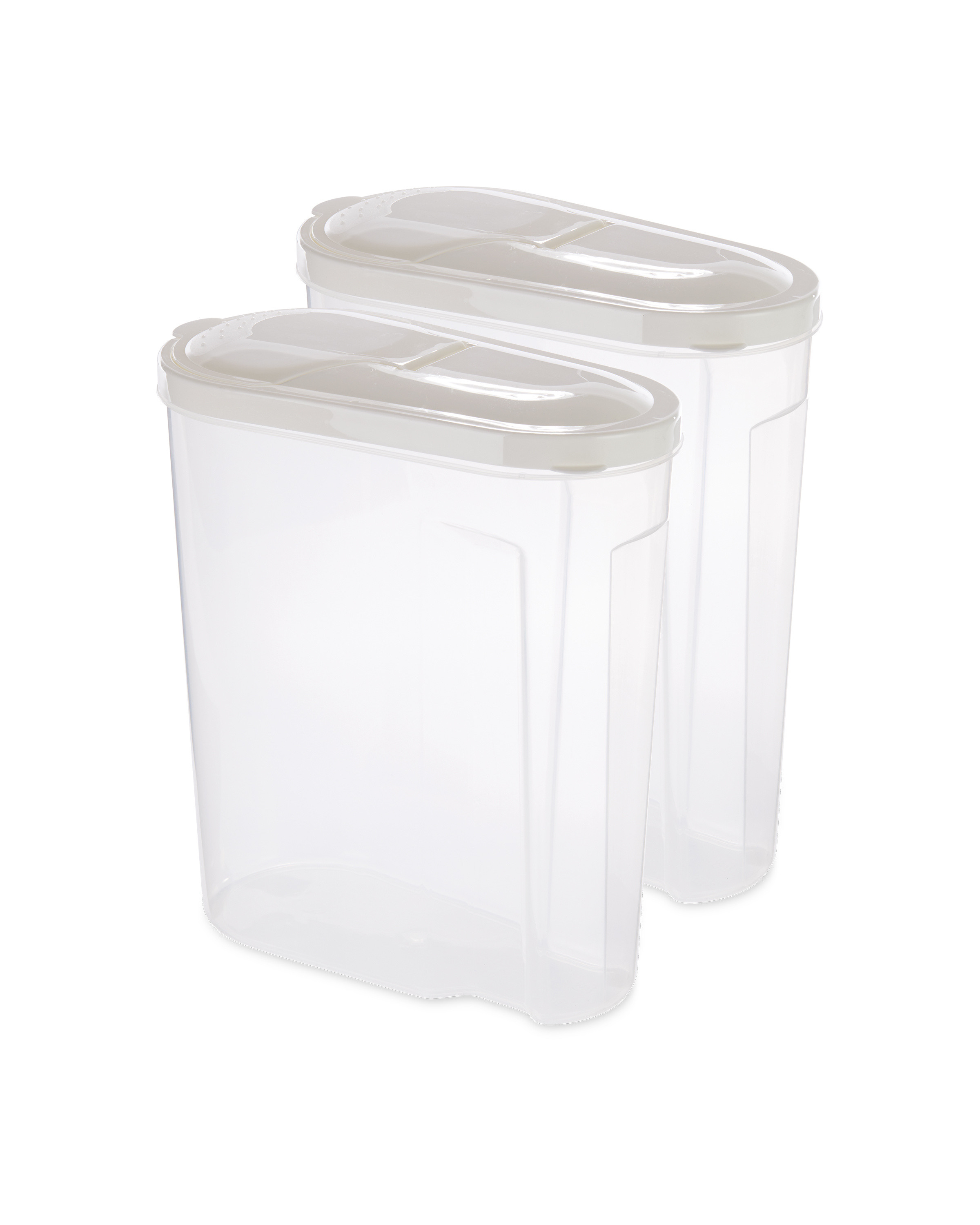 White Lid Cereal Containers 2 Pack