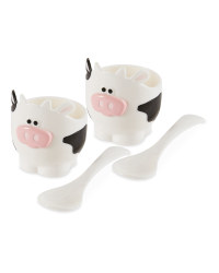 Cow Egg Cup And Spoon Set