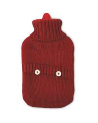 Red Knit Winter Hot Water Bottle