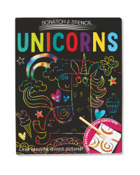 iSeek Unicorn Scratch & Stencil Set