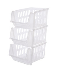 Clear Stackable Baskets 3 Pack