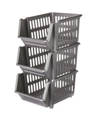Grey Stackable Baskets 3 Pack