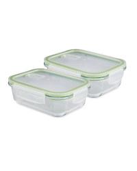Green Glass Food Storage Dish 2 Pack