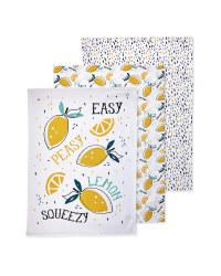 Lemons Printed Tea Towels 3 Pack