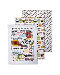 Toppings Printed Tea Towels 3 Pack