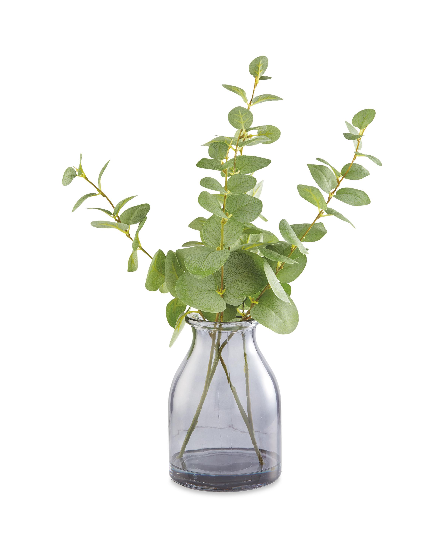 Faux Eucalyptus In Smoky Glass Vase