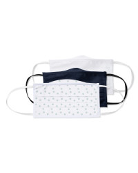 Adult Facemasks White/Navy/Dotted