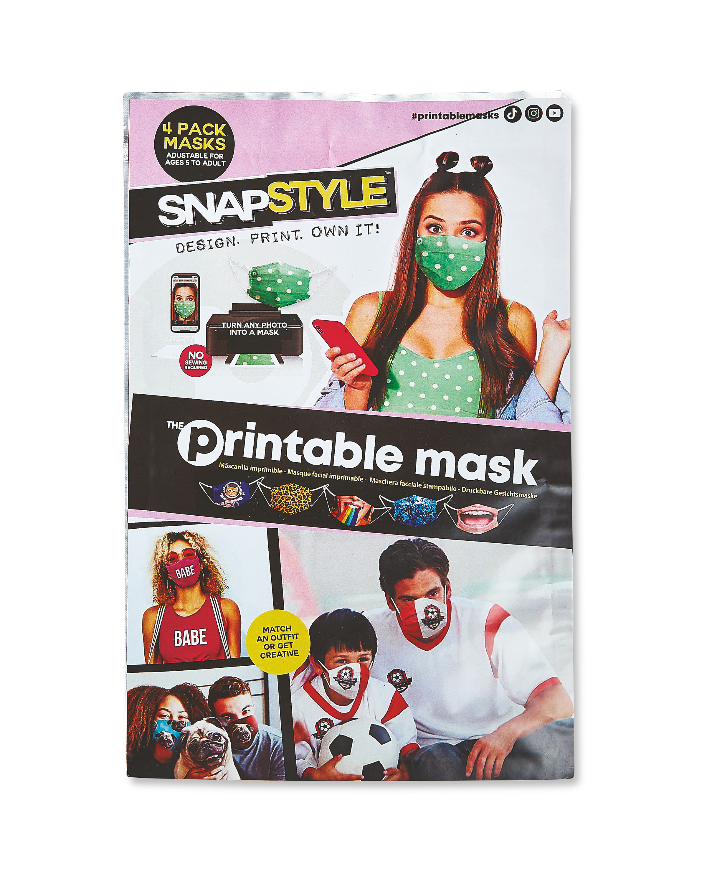 ALDI > General > Snapstyle Printable Mask 4 Pack