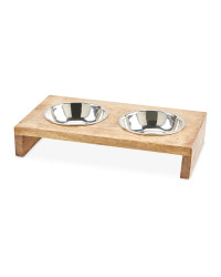 Large Wooden Raised Pet Bowls